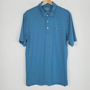 Vineyard Vines Polo Shirt Striped Blue Medium